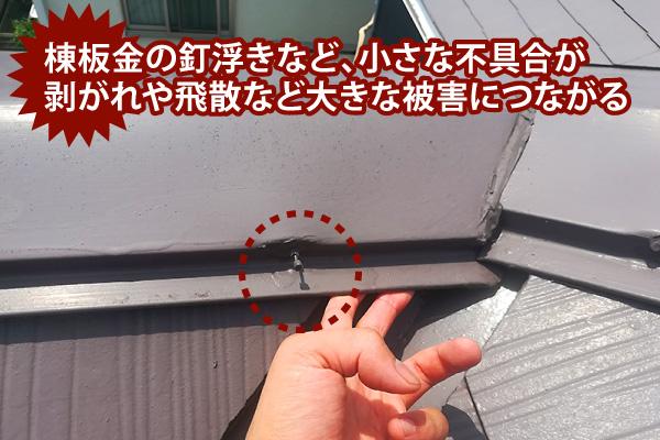 棟板金の釘浮きなど、小さな不具合が剥がれや飛散など大きな被害につながる