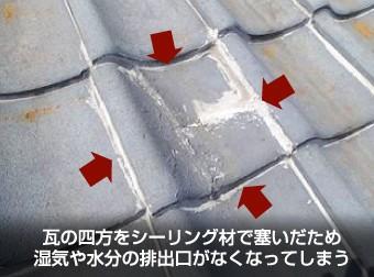 ラバーロック工法で固められた瓦屋根