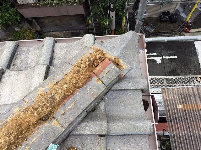 隅棟の取り直し工事