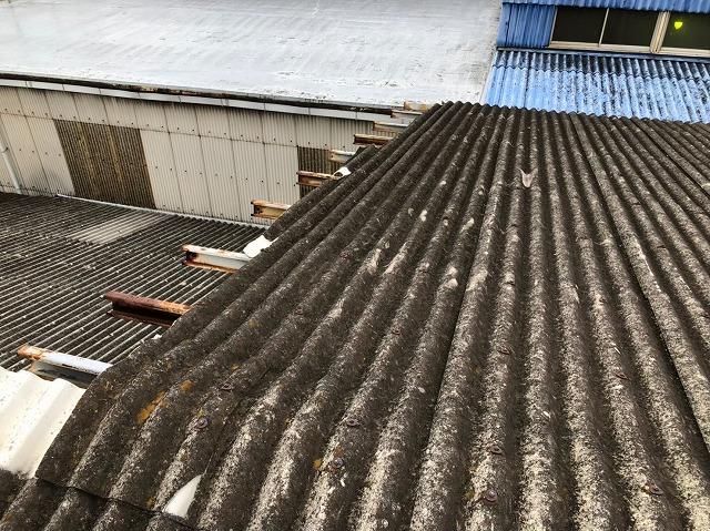 香芝市の波型スレートの大型工場を雨漏り点検