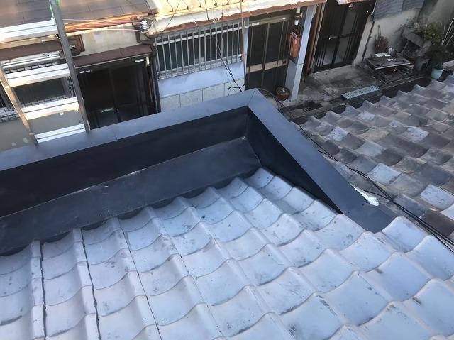奈良市のパラペット補修が完了した様子