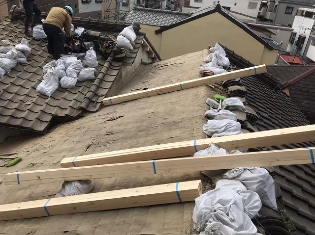 補強垂木設置準備