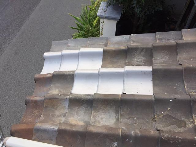 橿原市で築38年の瓦屋根の丸瓦・平瓦・漆喰の詰め直しの施工