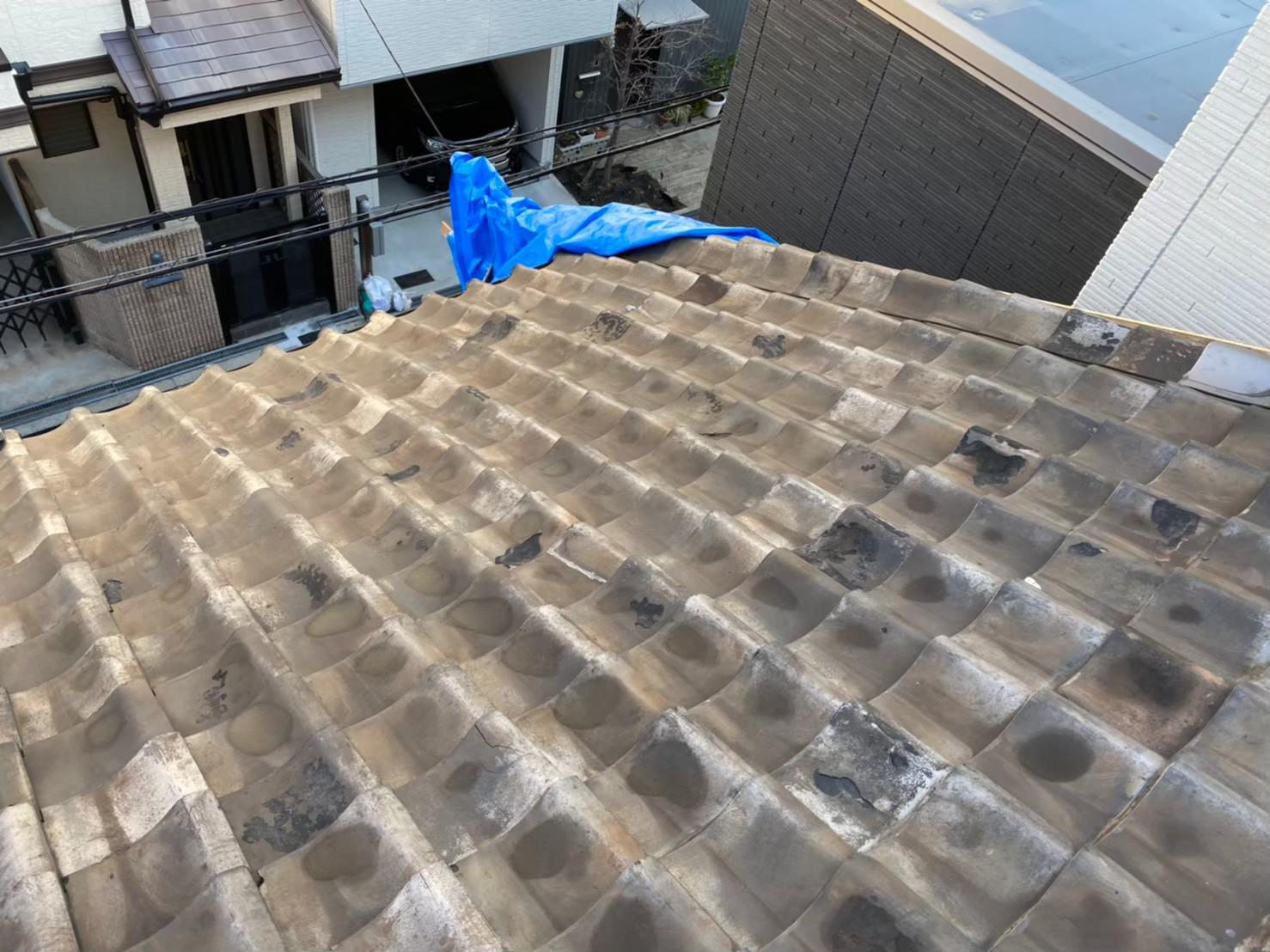 奈良市の長屋の和瓦屋根を無料点検