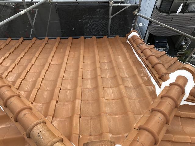工事前の茶色の和瓦屋根