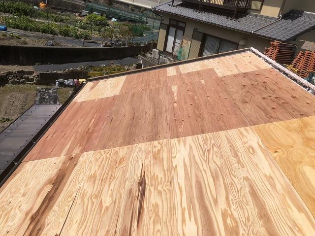 香芝市の平板瓦の野地板設置