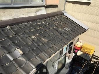 瓦葺き替え工事前の下屋根の様子
