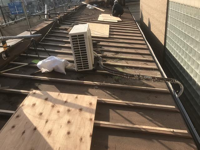 奈良市 店舗の屋根 トタン撤去