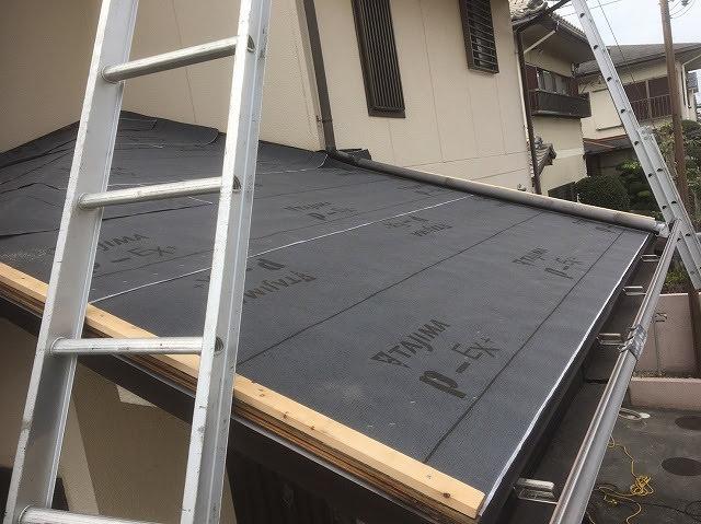 下屋根防水シート設置