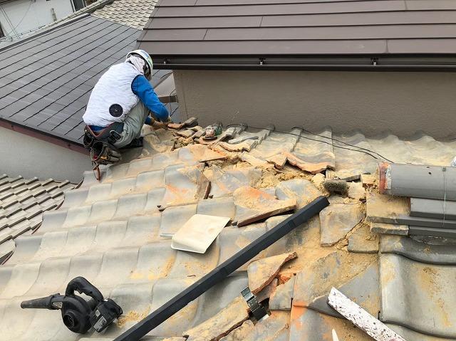 棟の取り直しと漆喰の詰め直し
