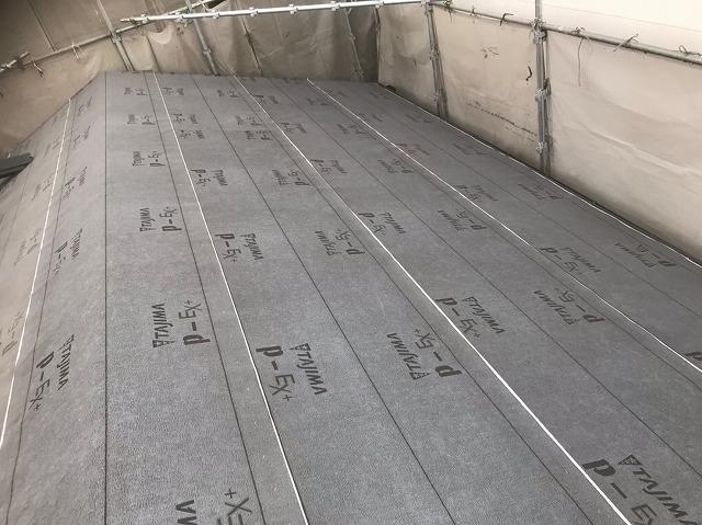 生駒市で下葺き材取り付け作業