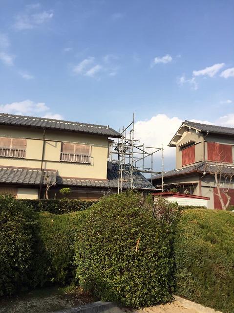 大和郡山市で築38年の瓦屋根の袖瓦(右袖)が飛散の為、補修工事