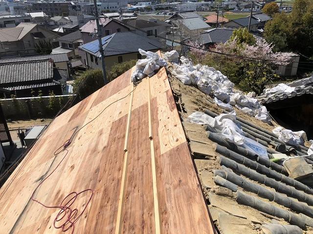 左屋根の野地板の張り替え完了