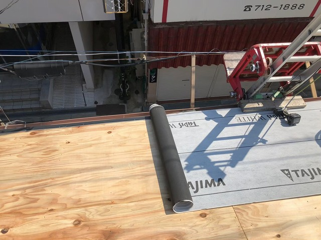 生駒市で防水紙の設置