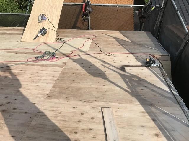 野地板設置の屋根の様子