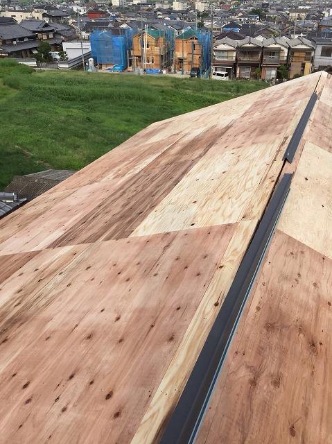 大屋根部分の増し張り