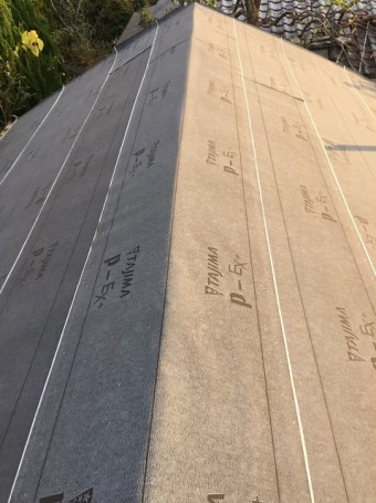 生駒市 和瓦 防水紙設置