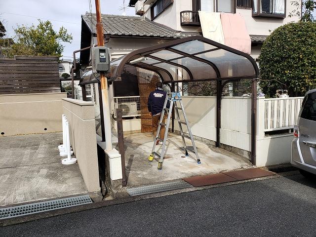 王寺町カーポート屋根交換工事