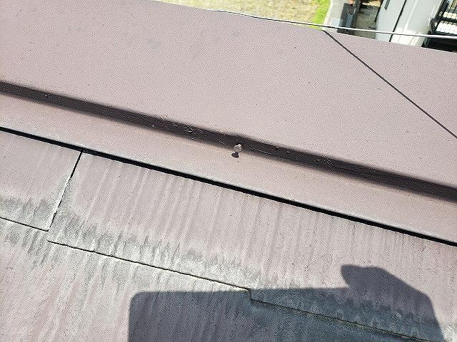 大和郡山市で棟板金の一部交換工事、浮いた釘