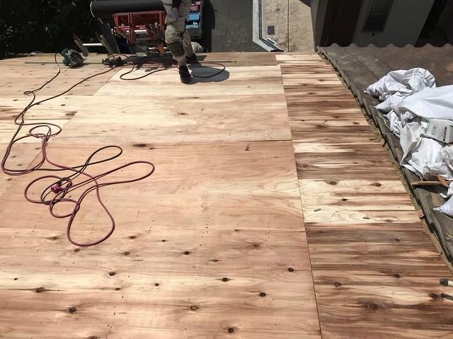 奈良市の雨漏り修理の野地板メンテナンス