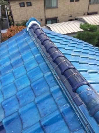 香芝市 青色釉薬瓦屋根 棟瓦取り直し 完成