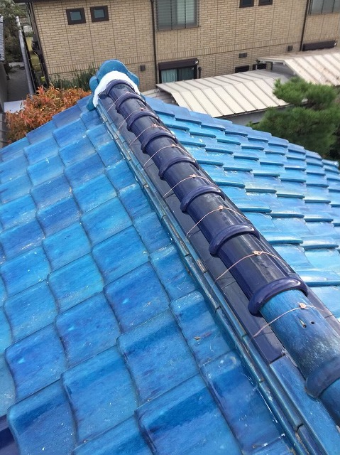 香芝市 青色釉薬瓦 崩れた大棟 施工後