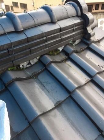 葛城市で下屋根にある漆喰に苔が繁殖