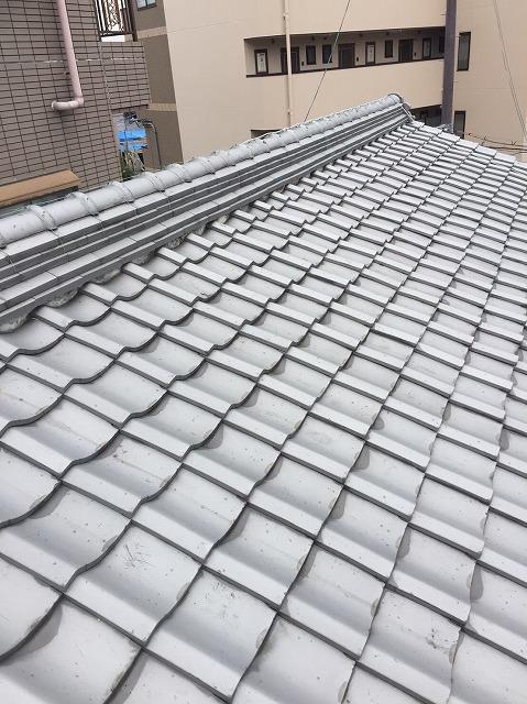葛城市で日本瓦屋根の漆喰調査