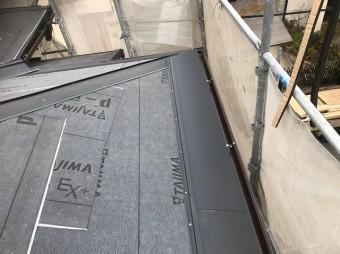橿原市 応急処置済み 屋根材設置