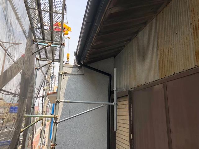 奈良市の長屋で雨樋修理