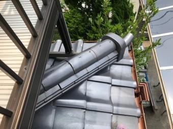 上牧町 いぶし瓦屋根 下屋根 施工前