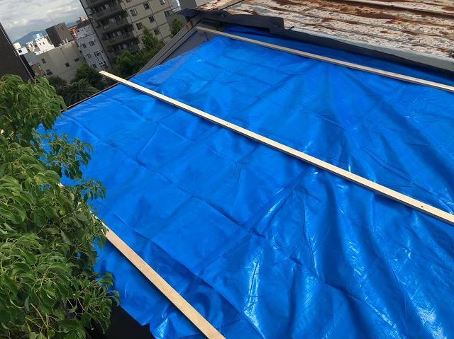 トタン屋根葺き替え雨の日