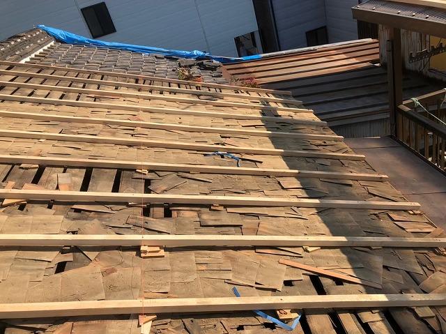 奈良市の屋根葺き替え工事での野地板のメンテナンス
