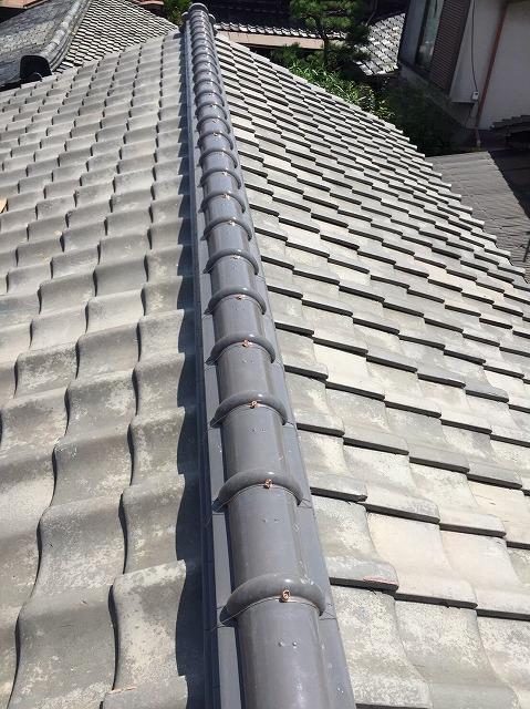 田原本町の瓦屋根の棟瓦完成