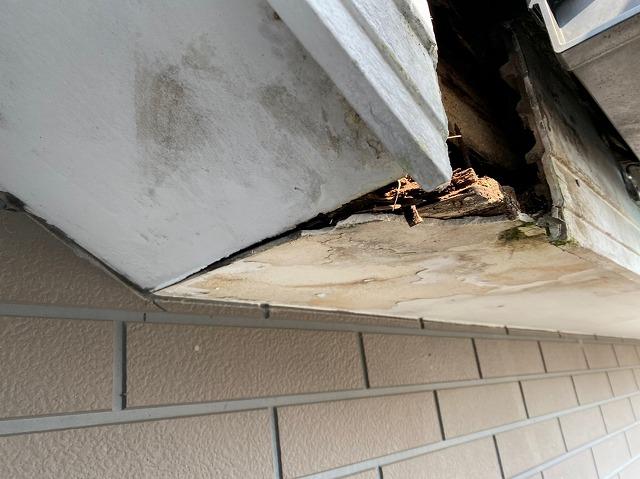 台風被害による雨漏り部分