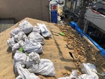 生駒市の雨漏り修理で瓦を撤去したところ