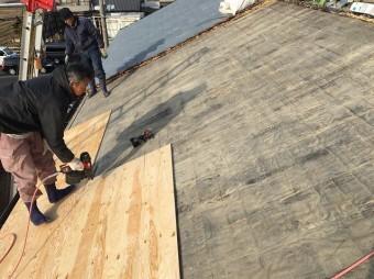 香芝市で野地板設置