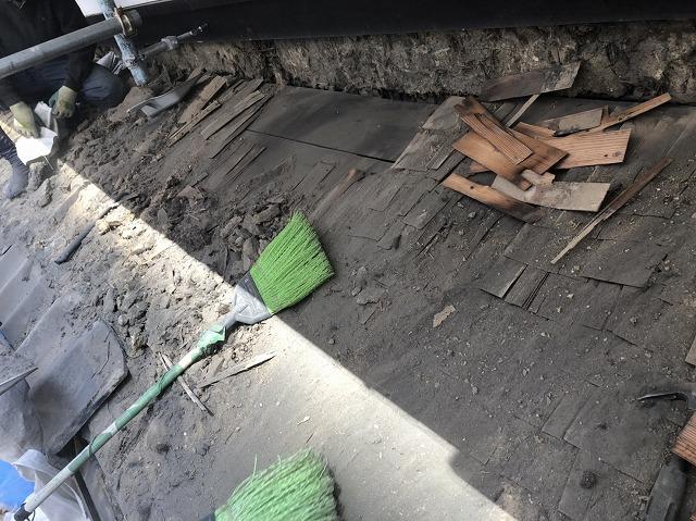 奈良市の和瓦下屋根の瓦撤去
