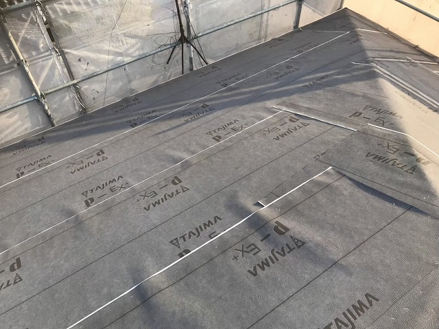 最新の防水紙を設置