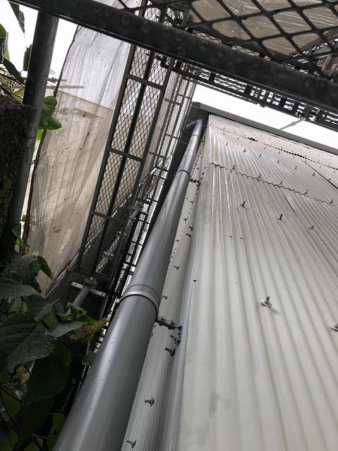 王寺町の雨樋交換で灰色の竪樋設置