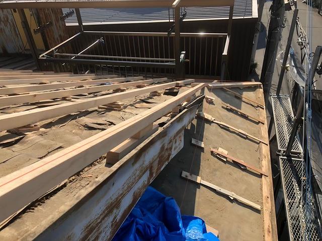 奈良市の雨漏り工事での野地板のメンテナンス