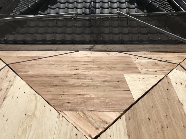 野地板の増し張り完成の様子