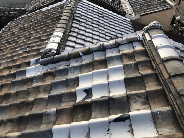 奈良市の経年劣化の瓦屋根の補修