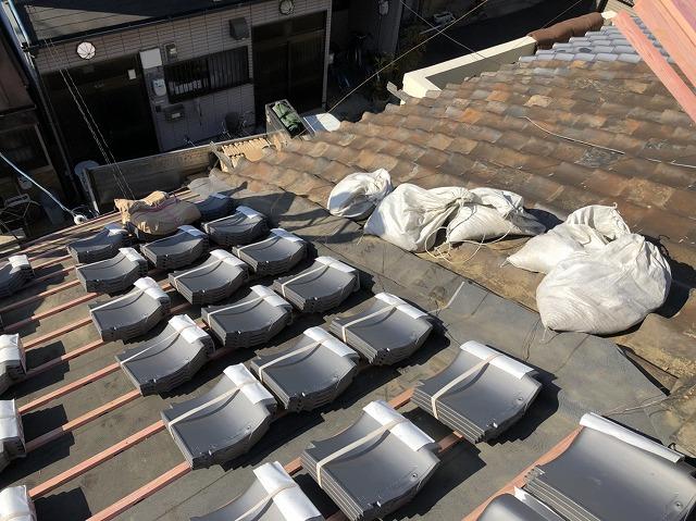 奈良市 和瓦屋根 瓦桟木設置