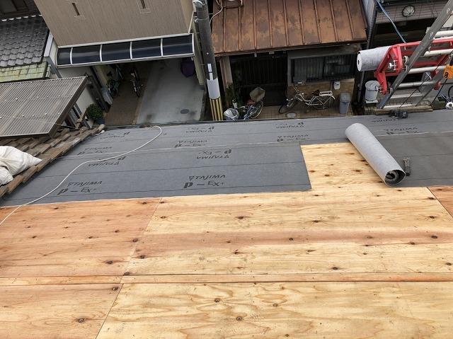 奈良 和瓦劣化 防水紙(ルーフィング)貼り