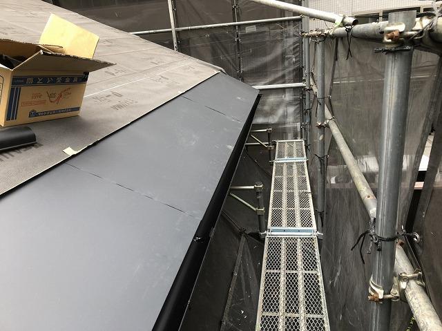 奈良市の複合屋根の軒先水切り