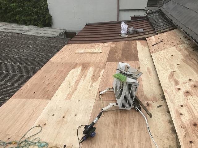 三宅町 野地板設置 葺き替え工事