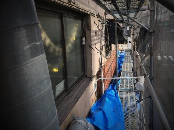 奈良市 店舗の外壁 モルタル壁