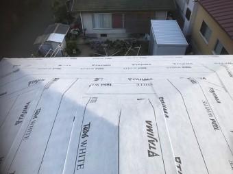 上牧町 和瓦屋根葺き替え 防水紙設置
