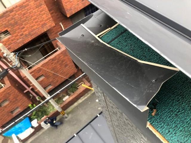 奈良市の台風被害の立平葺き